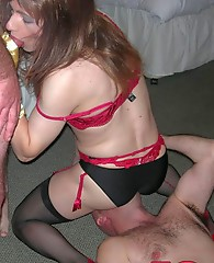 TGirl Kirsty's is having one of her parties, and all her crossdressing friends love sucking cock as much as she does
