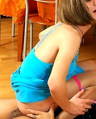 Freaky gay sissy in sexy blue dress readily jumping on throbbing pecker