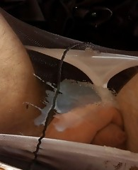 Sex-crazy sissy guy exploding cum after mind-blowing strap-on ass-fucking