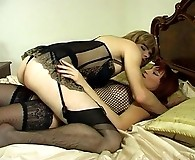 Lascivious babe getting her first taste of strap-on fucking with sissy guy
