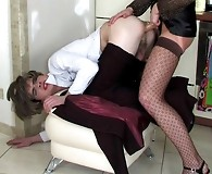 Horny sissy guy getting gaping ass after outrageously hot strap-on fucking