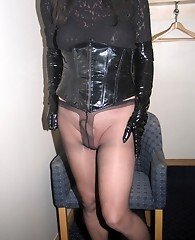 Sexy tranny slut Yvette is wearing some naughty nylons today