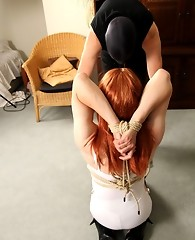 Horny TGirl slut Lucimay gets turned on and tied up by her master