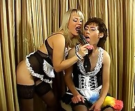 Strap-on armed maid makes a sissy put on her uniform aching for ass-plowing