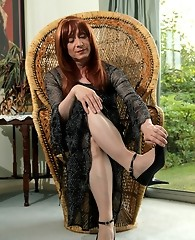 Horny Lucimay masturbates her hard cock into one of her high heels