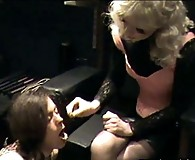 This horny crossdresser gets put on Helgas fuck bench and dominated hard