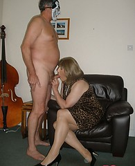 Hot TGirl Kirsty and her crossdresser friend enjoy sucking and fucking on the sofa