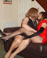 TGirl Kirsty watches two of her horny slutty crossdresser friends suck and fuck on her sofa